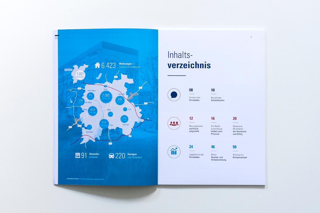 Piktogramme und ein Farbsystem führen durch den Geschäftsbericht