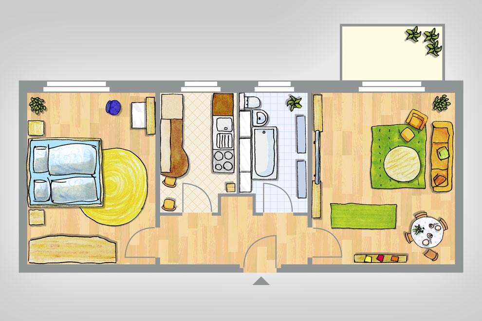 Die Einrichtung im Grundriss ist illustriert