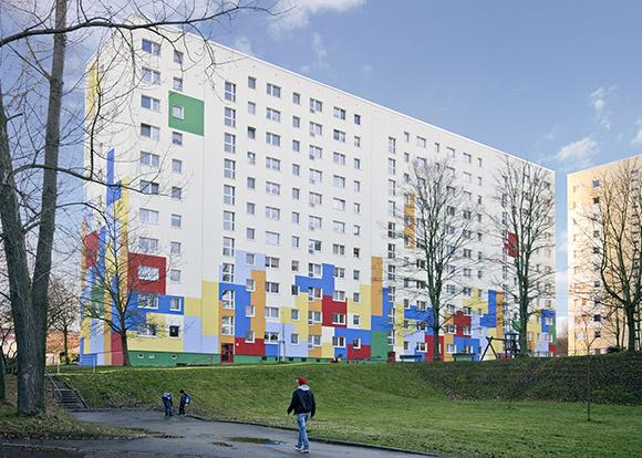 Hochhausfassade Umsetzung