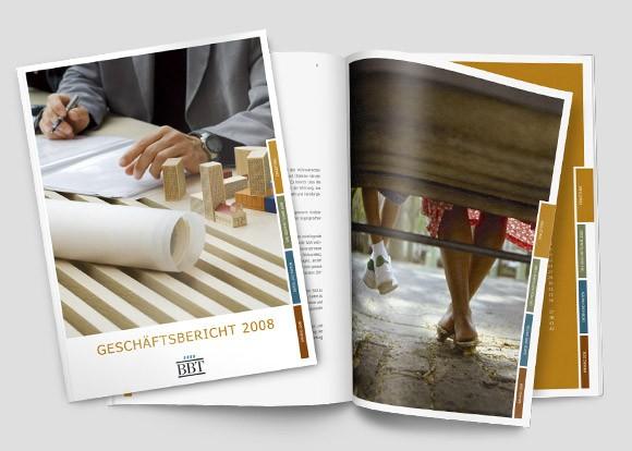 Geschäftsbericht für die BBT in Berlin, gestaltet von der Agentur enders aus Halle